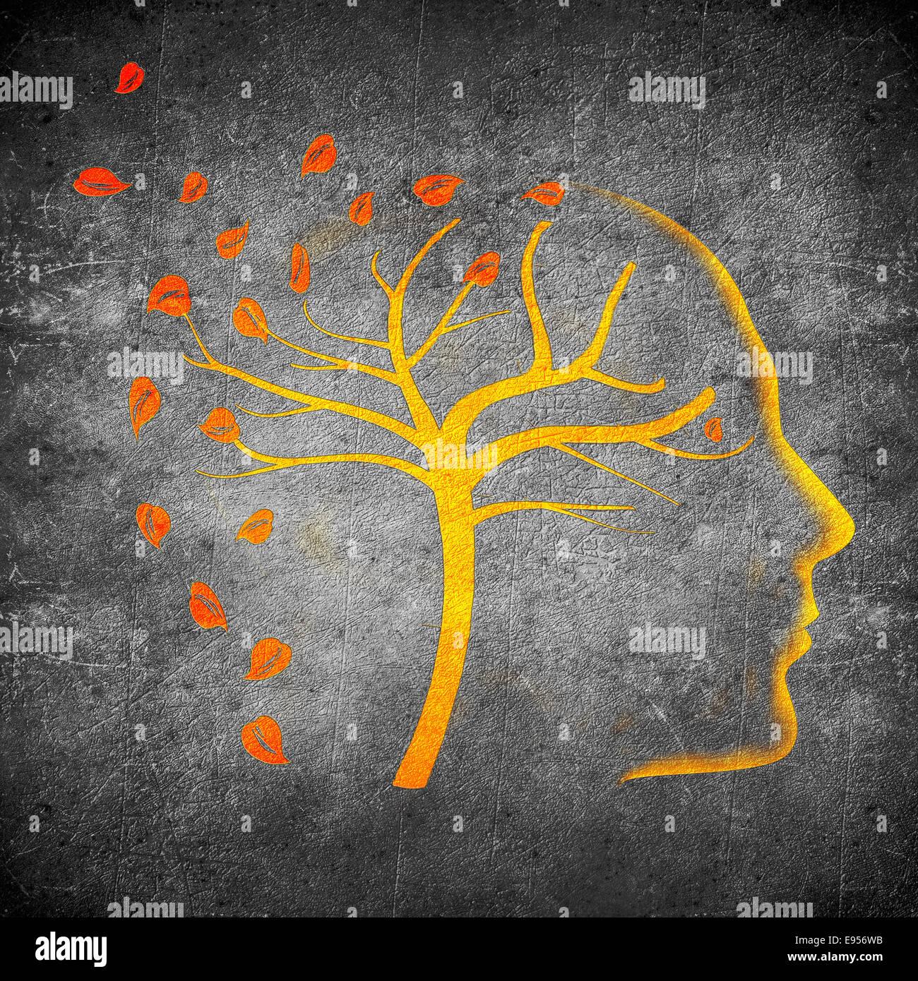 times go by concept digital illustration orange on black - Stock Image