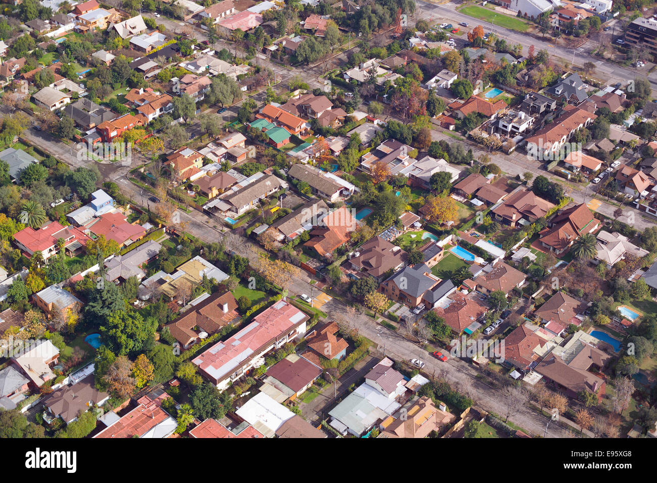 Aerial view of a wealthy neighborhood in Santiago de Chile - Stock Image