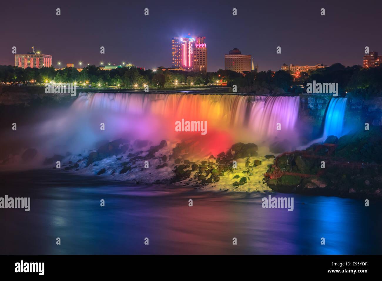 Light show at the American Falls, part of the Niagara Falls, Ontario, Canada. - Stock Image