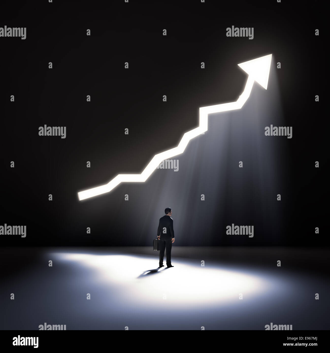 An opening in a wall shaped like an arrow graph - Stock Image