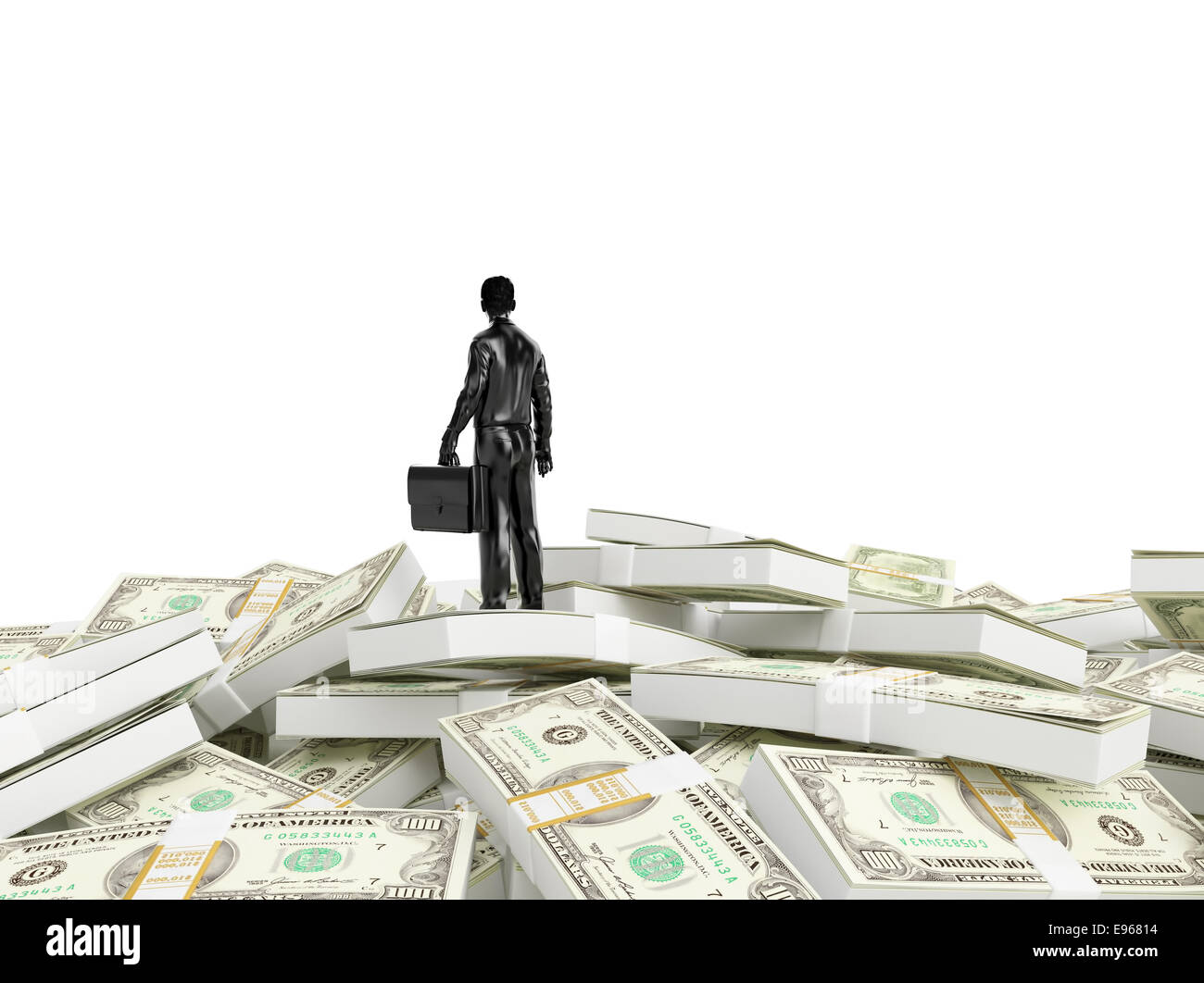 Tiny person standing on a huge pile of money - Stock Image