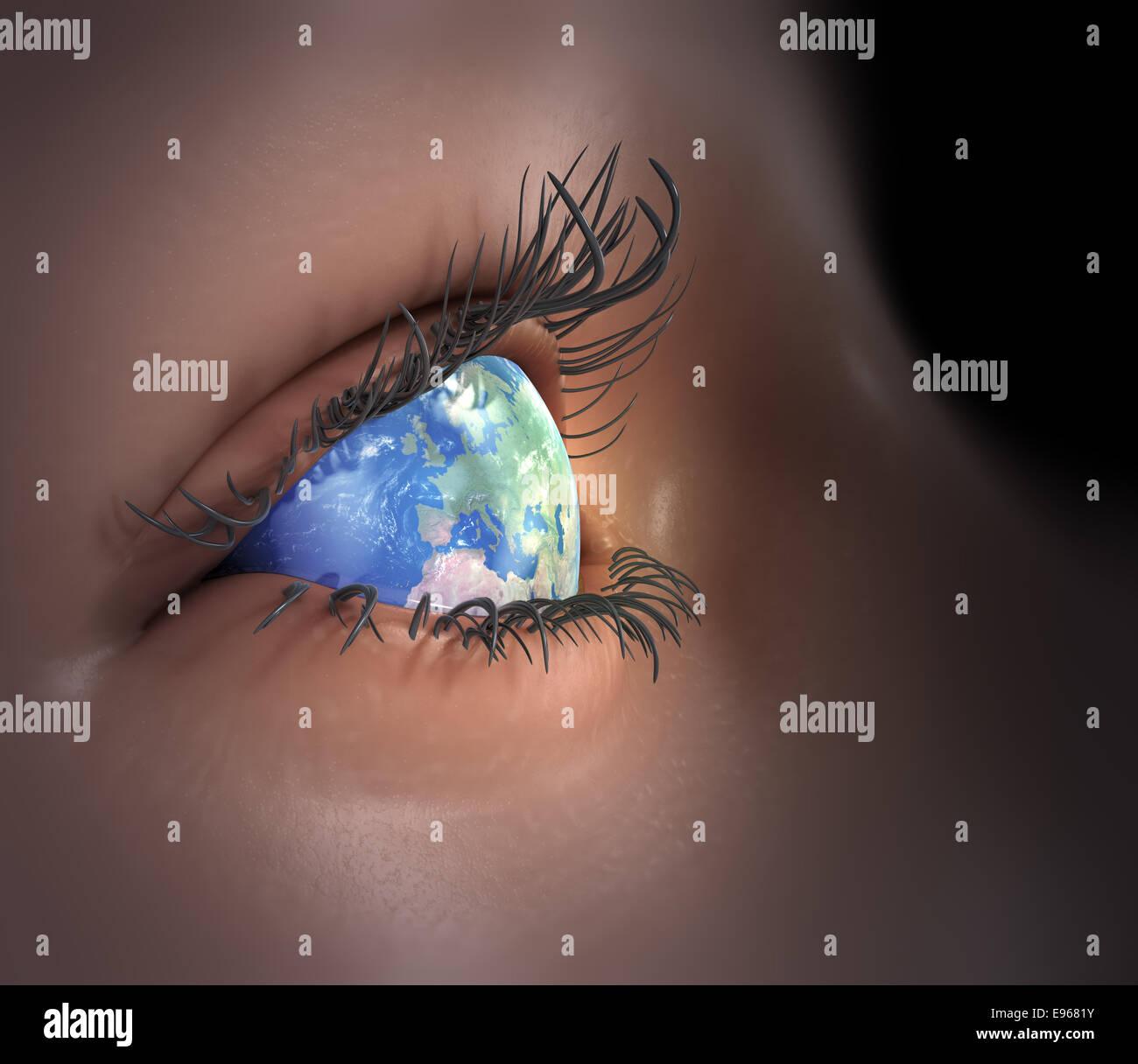 Earth as an eye - global vision - Stock Image