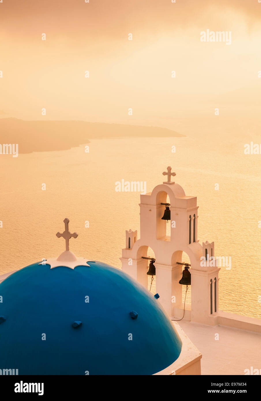 St Gerasimos church at sunset , Firostefani, Fira, Santorini, Thira, Cyclades islands, Aegean Sea, Greece, EU, Europe - Stock Image