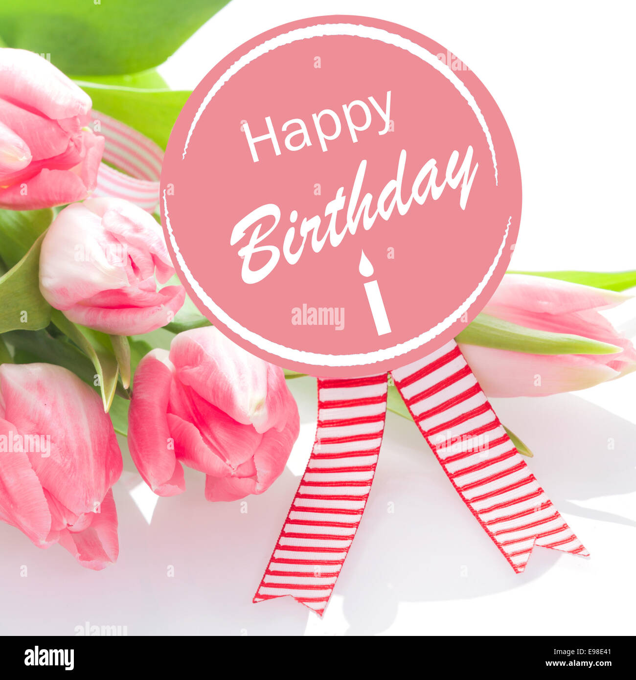 Happy Birthday Wishes On A Round Pink Rosette With Colourful Striped