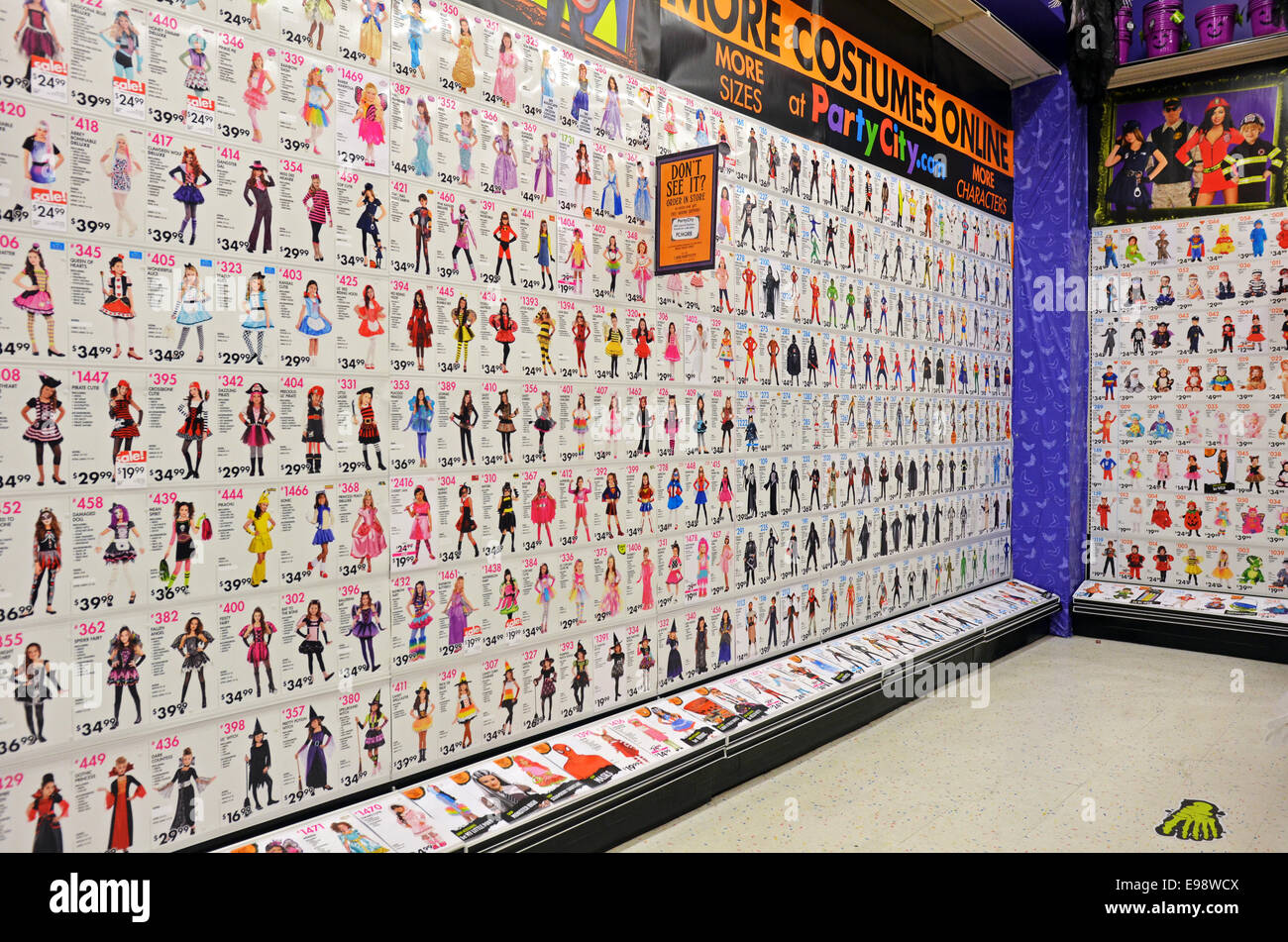 display of halloween costumes for sale at the party city store in greenwich village manhattan new york city