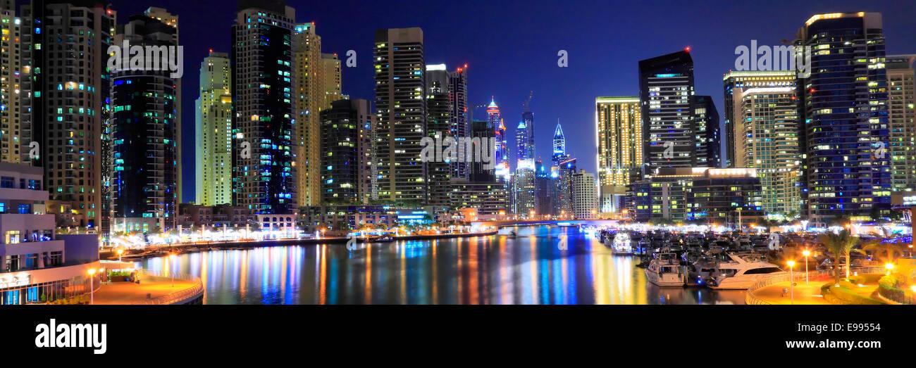 Dubai Marina at night - panoramic - Stock Image