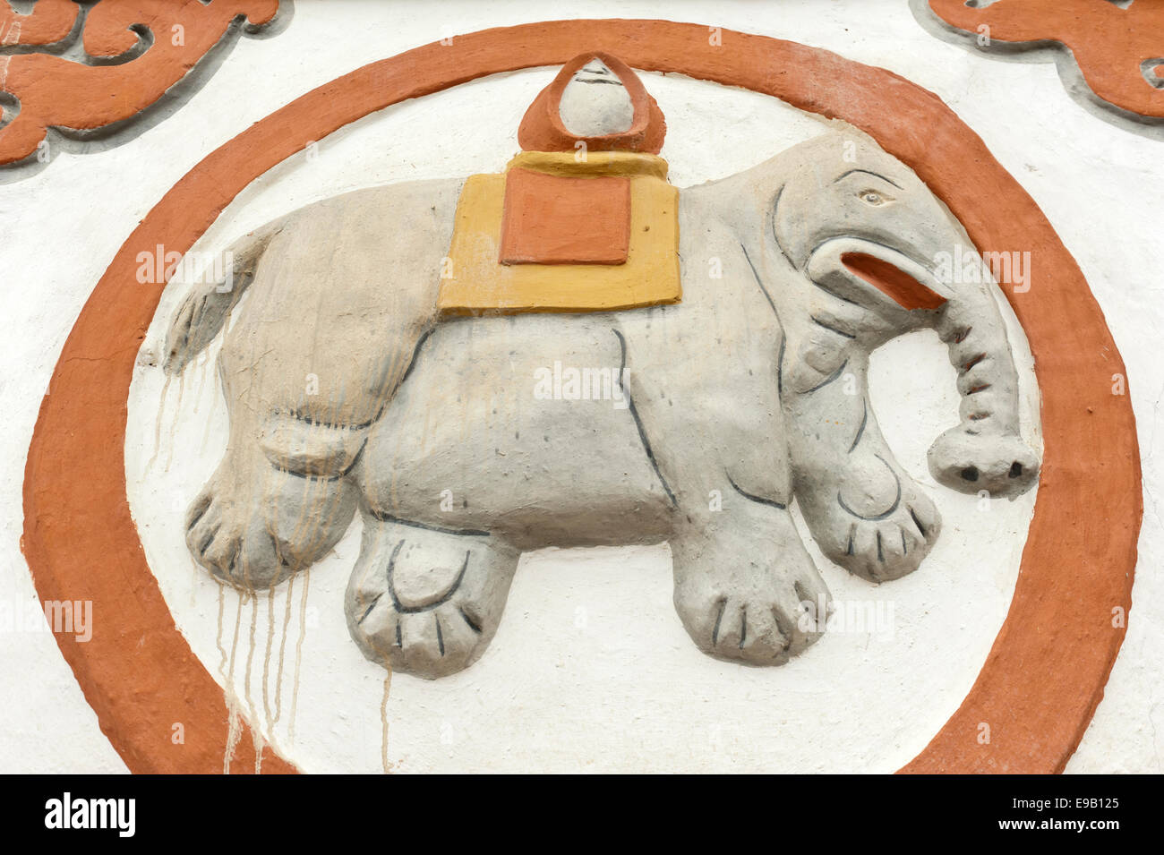 Buddhist Stupa Detail Lucky Symbol Of An Elephant Sungda Chorten