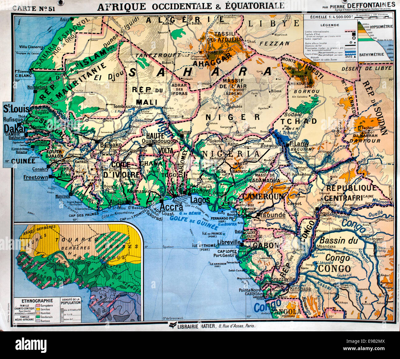 Old school world wall map Africa Sahara Niger Congo French Stock ...