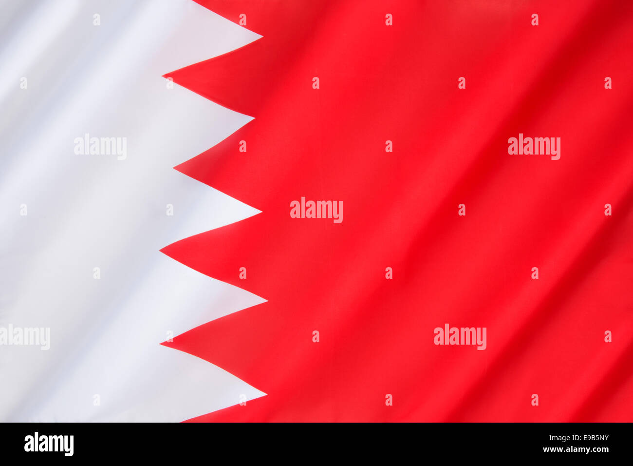 The national flag of Bahrain - Stock Image