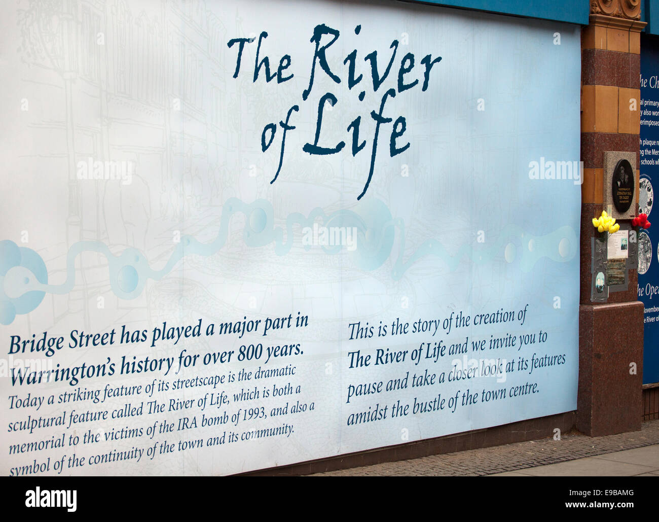 River of Life, A Poster commemorating the victims of the IRA bomb of 1993, and a symbol of the community of the - Stock Image