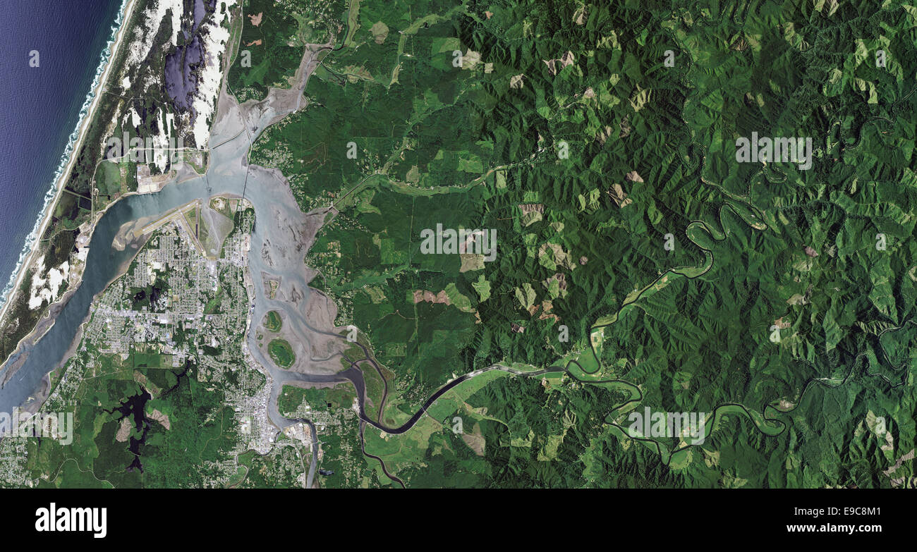aerial photo map of Coos Bay, Oregon - Stock Image