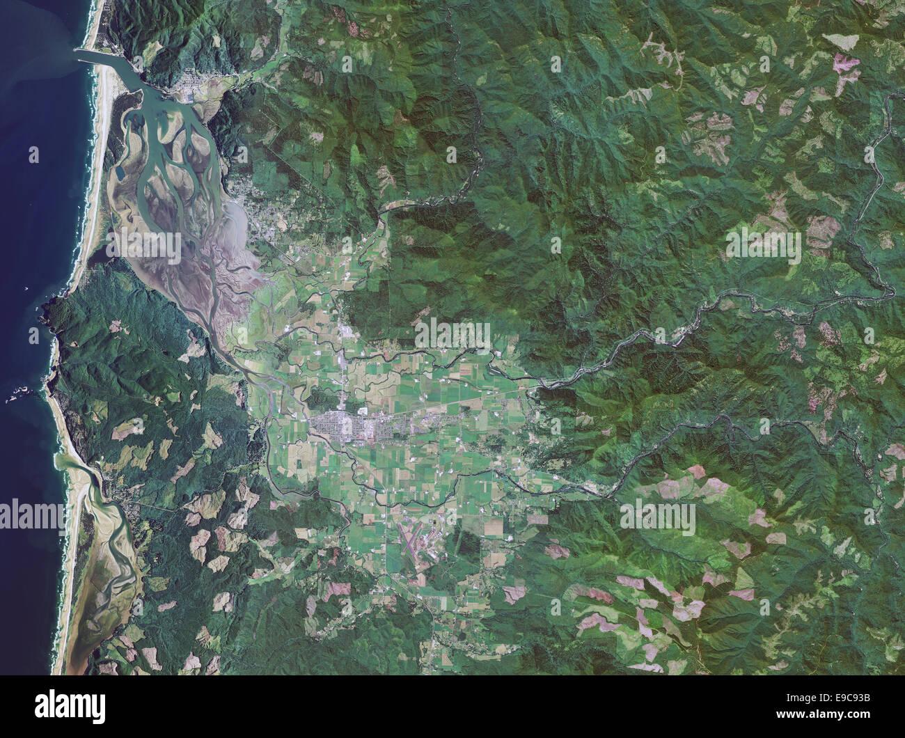 aerial photo map of Tilamook, Oregon - Stock Image