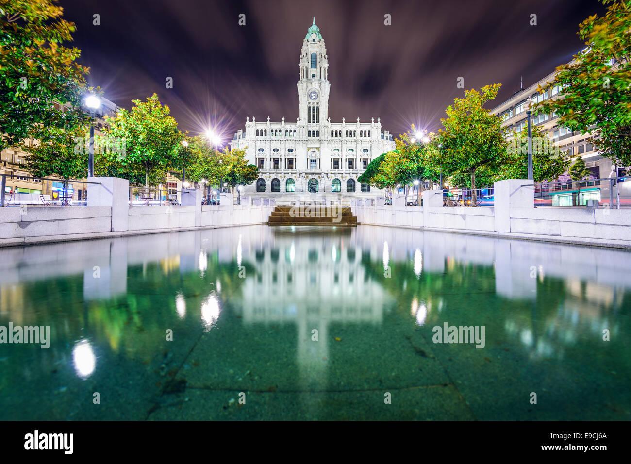 Porto, Portugal city hall at night. - Stock Image