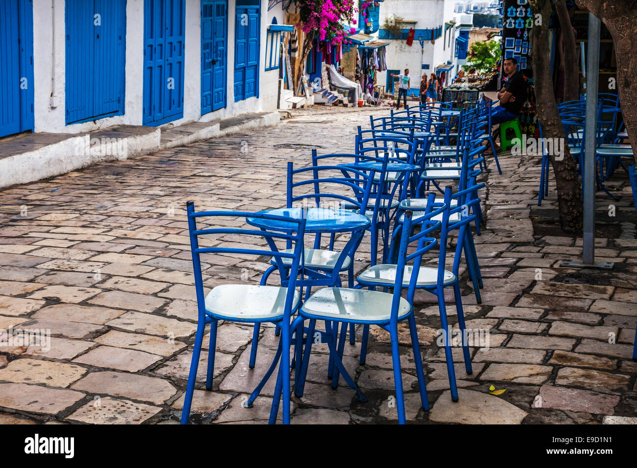 Blue chairs outside a cafe in the main street of Sidi Bou Said Tunisia. & Blue chairs outside a cafe in the main street of Sidi Bou Said Stock ...