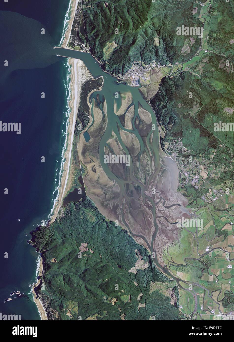 aerial photo map of Tillamook Bay, Oregon - Stock Image