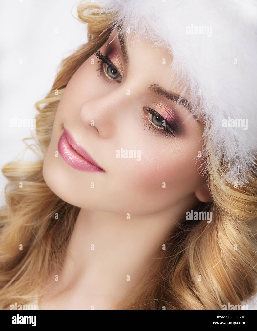 Pretty Dreamy Young Woman's Face - Stock Image