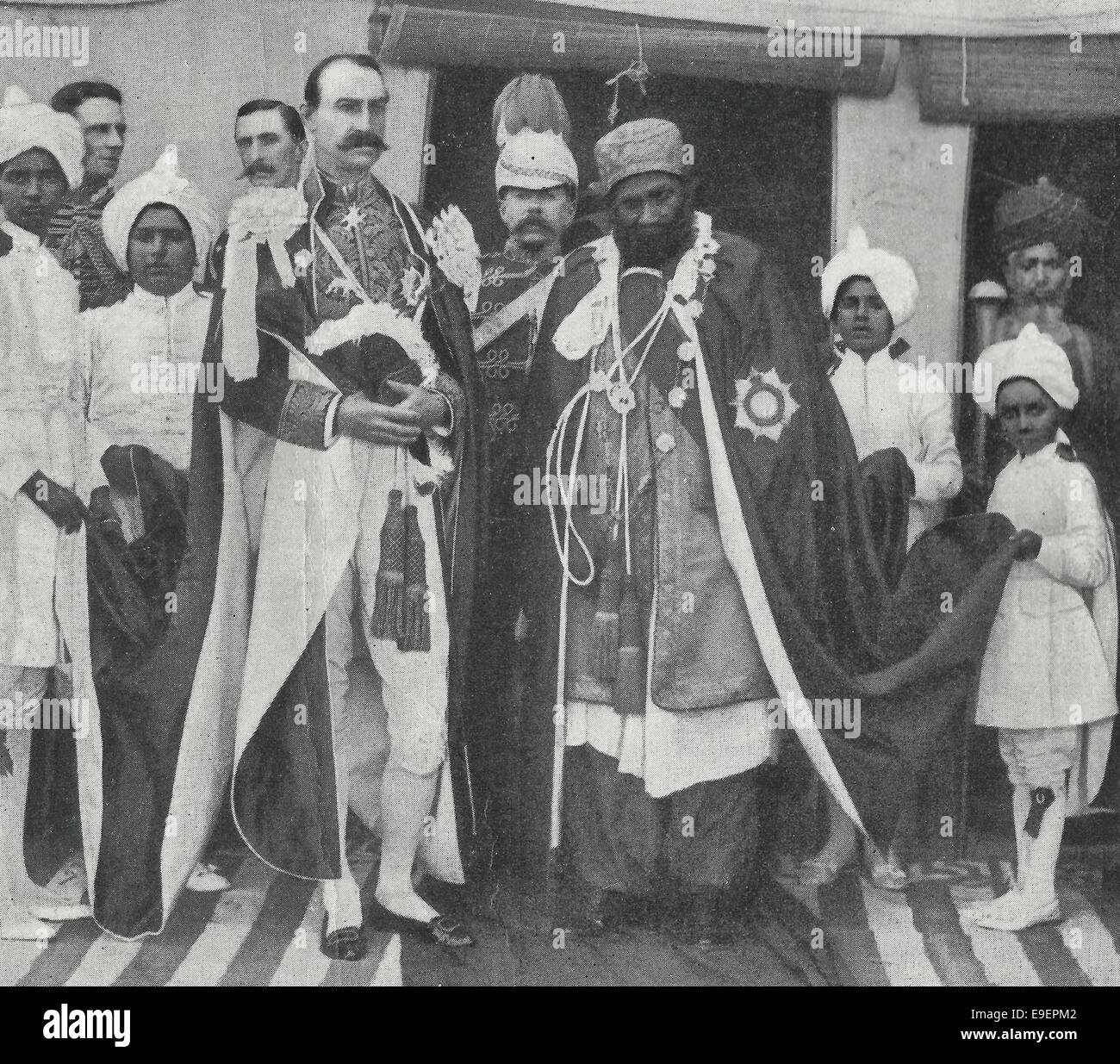 His Excellency the Rt Honourable Lord Sandhurst, Governor of Bombay with H.H. the Mir of Khairpur, circa 1899 - Stock Image