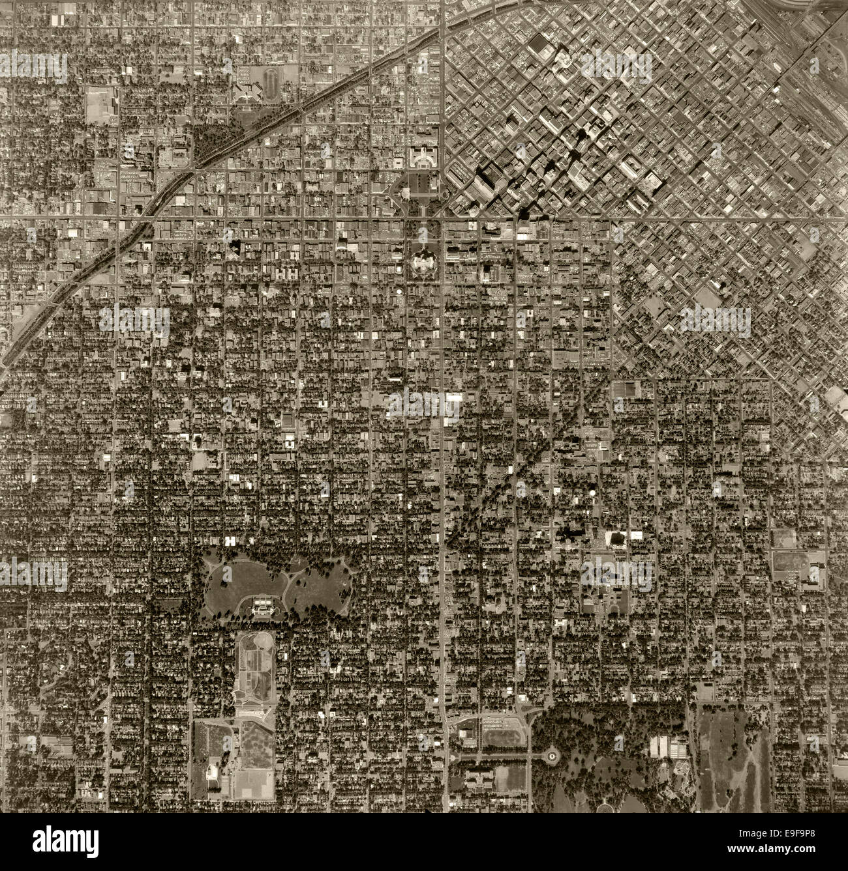 historical aerial photograph Denver, Colorado, 1963 - Stock Image
