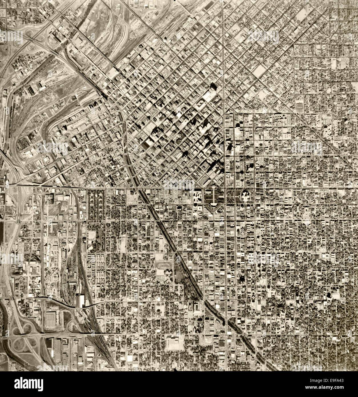 historical aerial photograph Denver, Colorado, 1964 - Stock Image