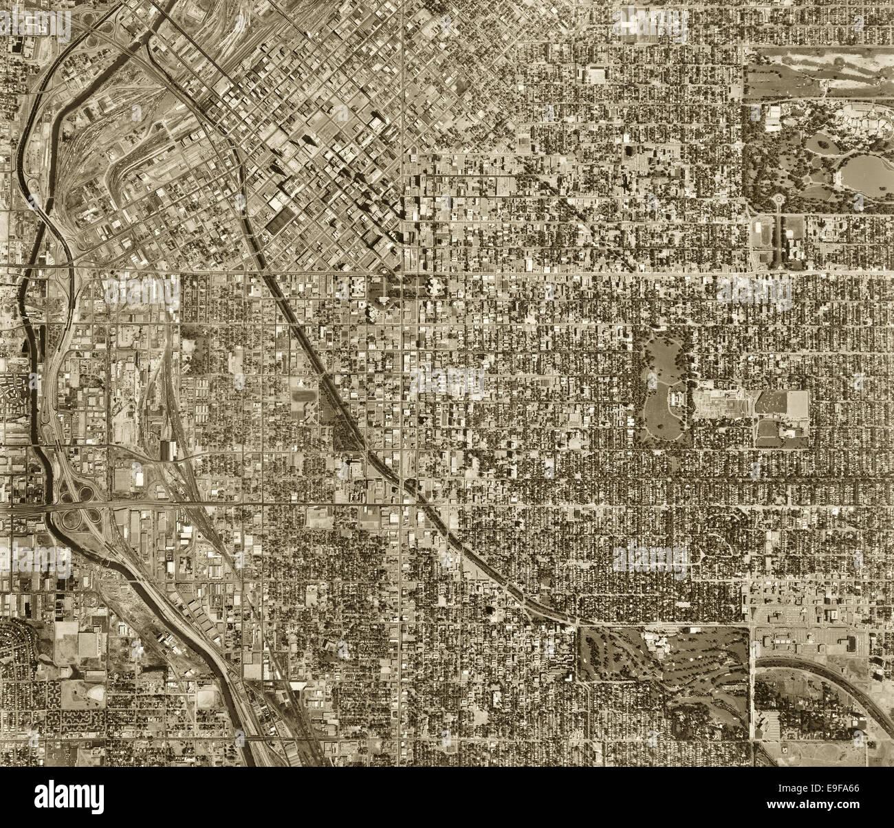 historical aerial photograph Denver, Colorado, 1971 - Stock Image