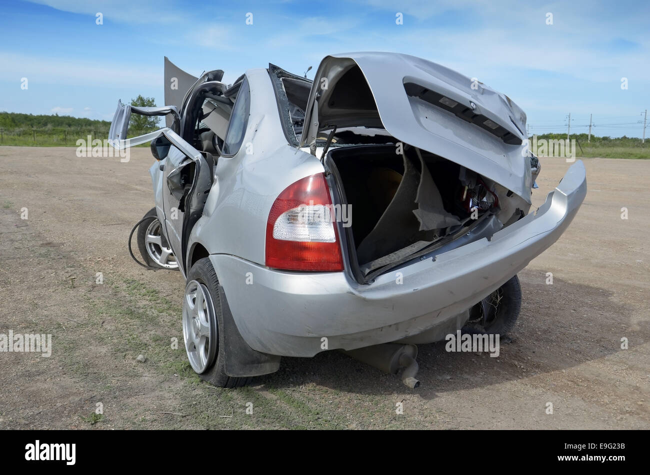 Crashed car - Stock Image