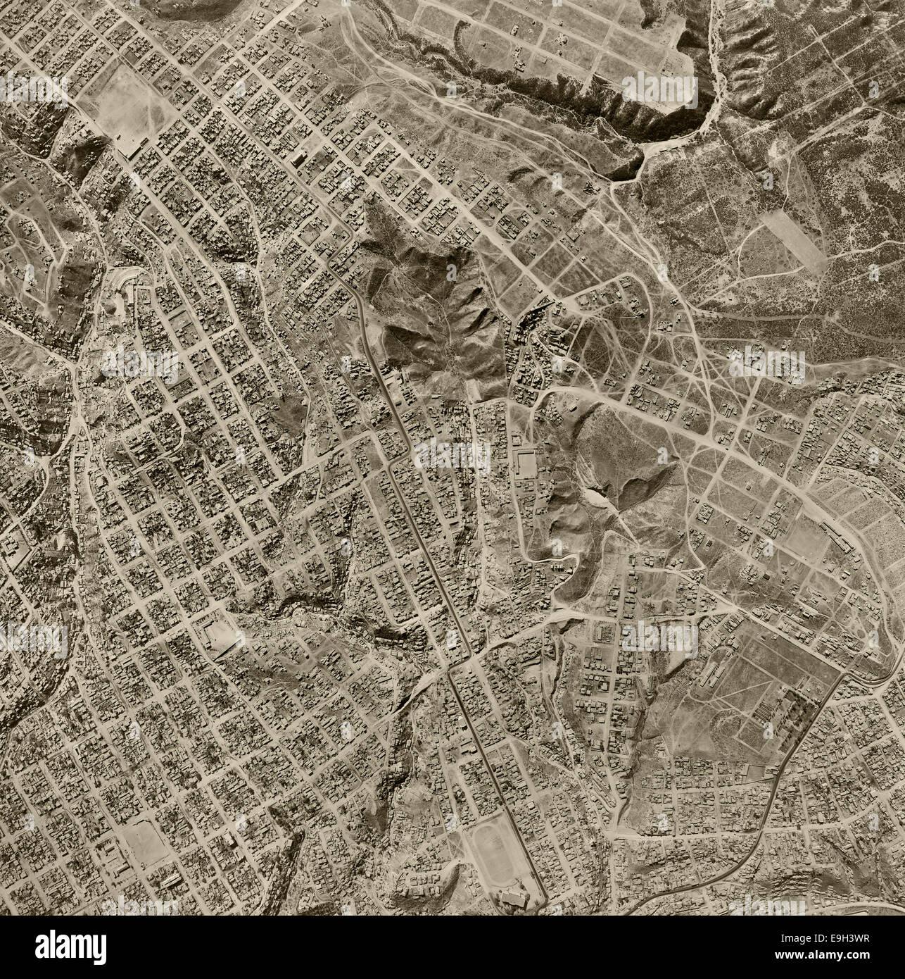 historical aerial photograph Tijuana, Baja, Mexico, 1962 - Stock Image