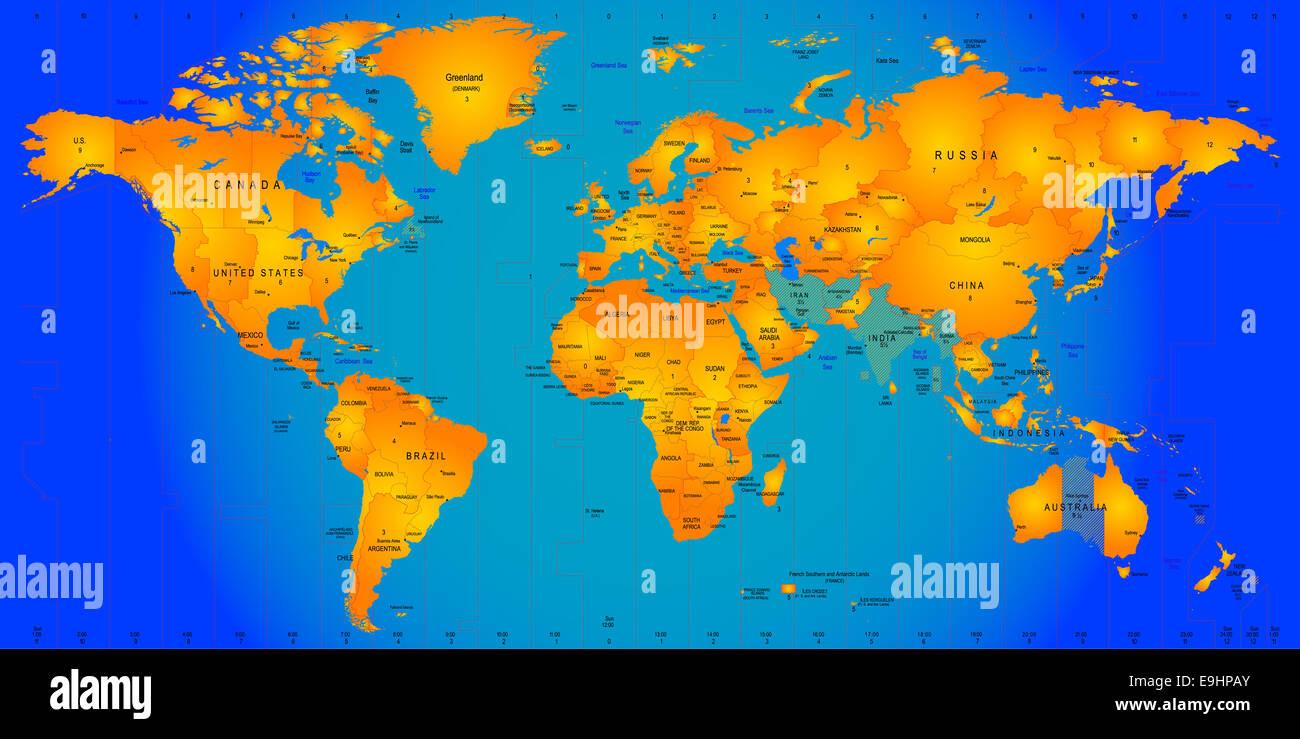 Timezone map stock photo 74764115 alamy timezone map gumiabroncs Images