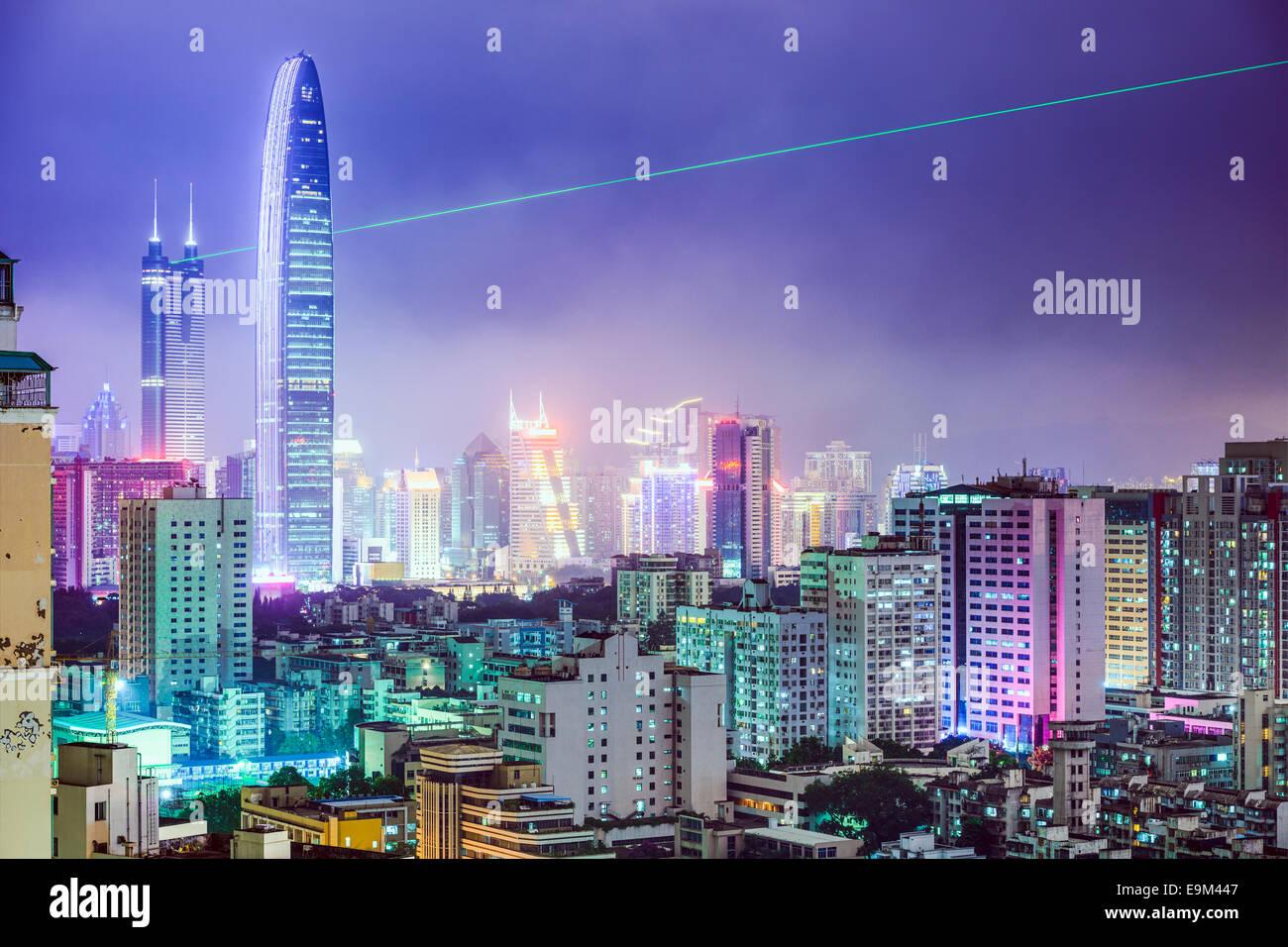 Shenzhen, China city skyline at night. - Stock Image