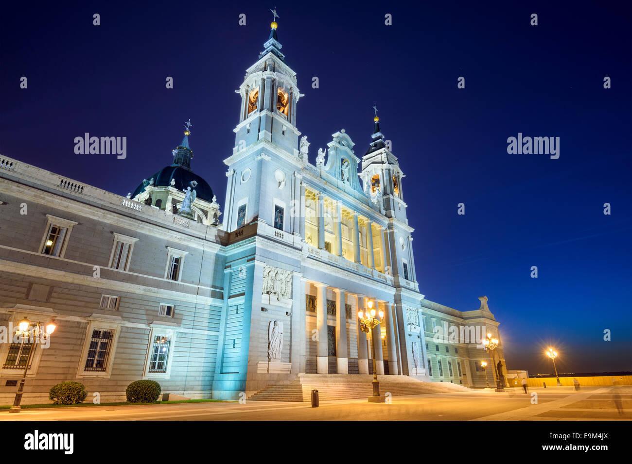 Madrid, Spain at La Almudena Cathedral at night. - Stock Image