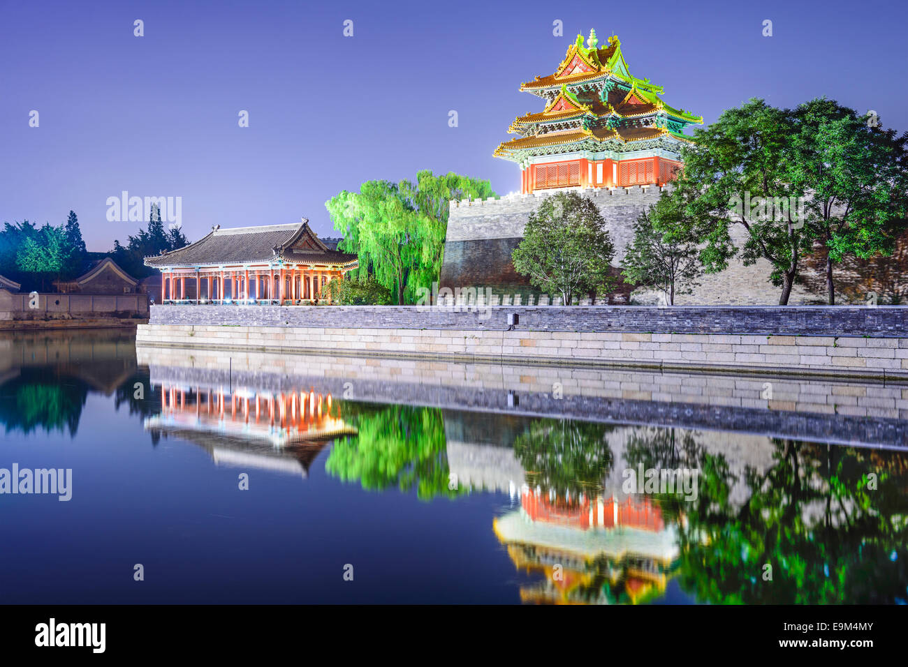 Forbidden City Outer Moat in Beijing, China at night. - Stock Image