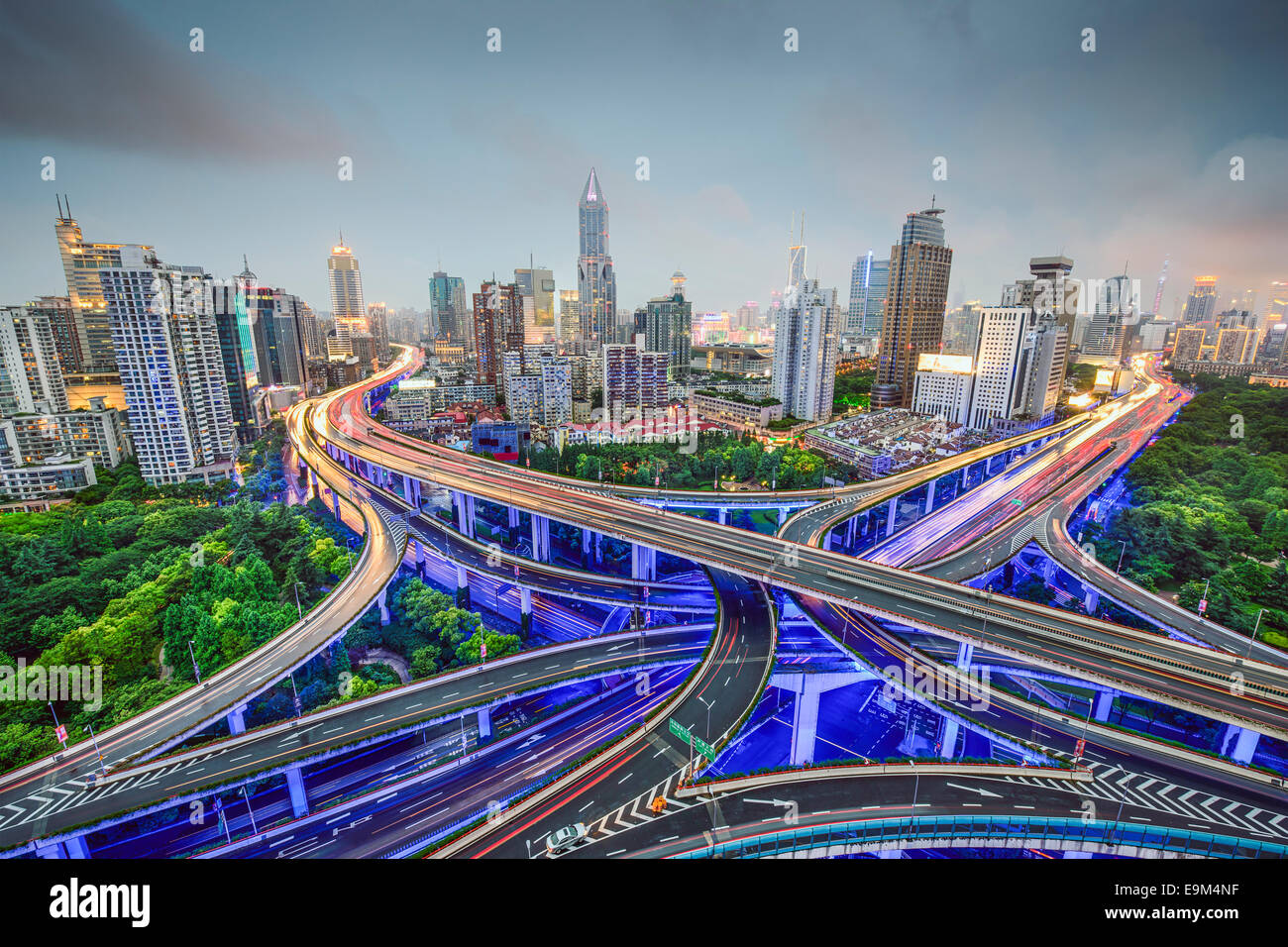 Shanghai, China cityscape obove highway junctions. - Stock Image