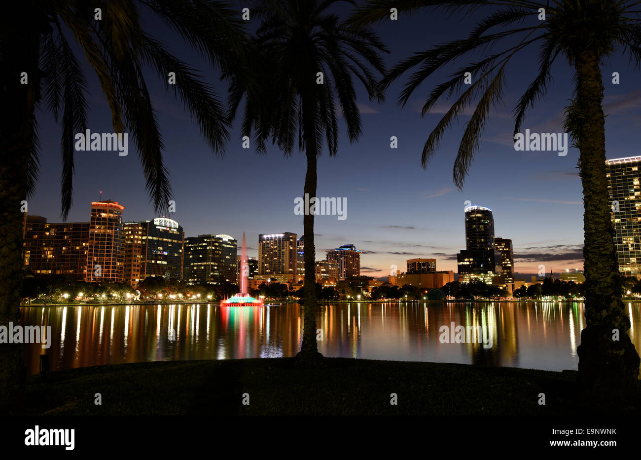 View from Lake Eola of downtown Orlando, Florida at sunset. - Stock Image