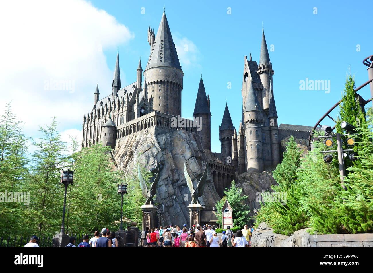 Hogwarts Castle, In The Wizarding World of Harry Potter, Islands of Adventure, Universal Orlando Resort, Orlando, - Stock Image