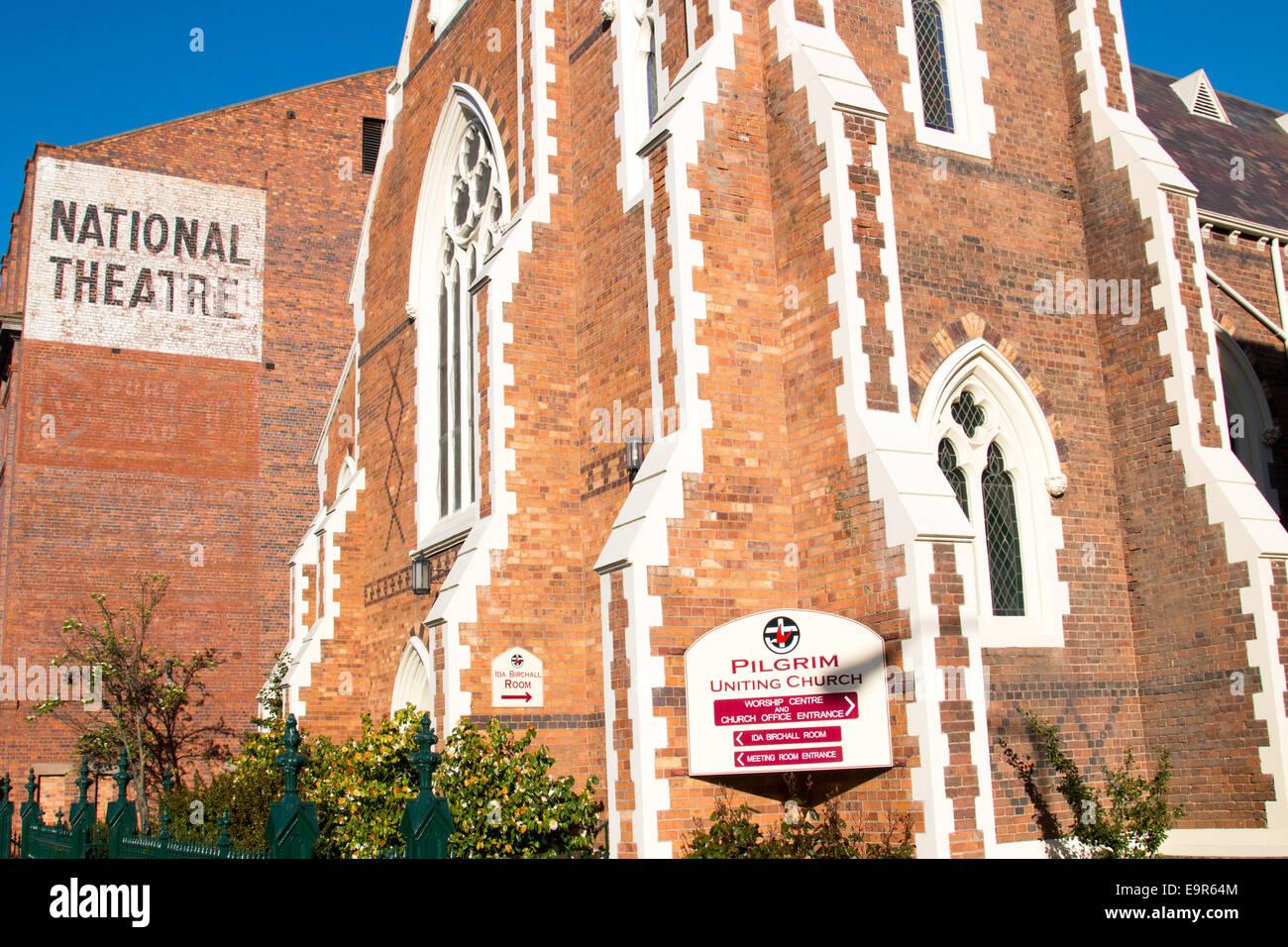 Launceston national theatre and pilgrim uniting church, tasmania,australia - Stock Image