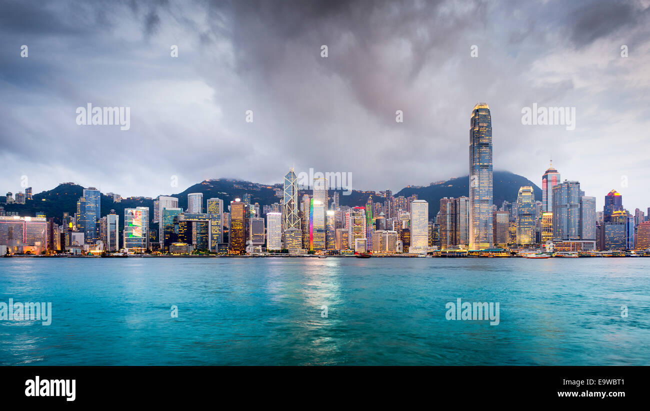 Hong Kong, China city skyline at Victoria Harbor. - Stock Image