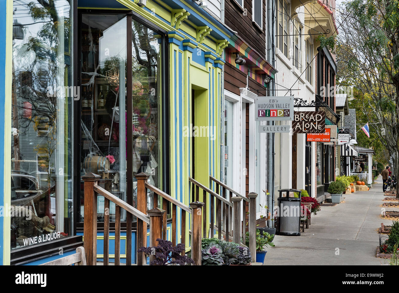 Shops in village of Rhinebeck, New York, USA Stock Photo