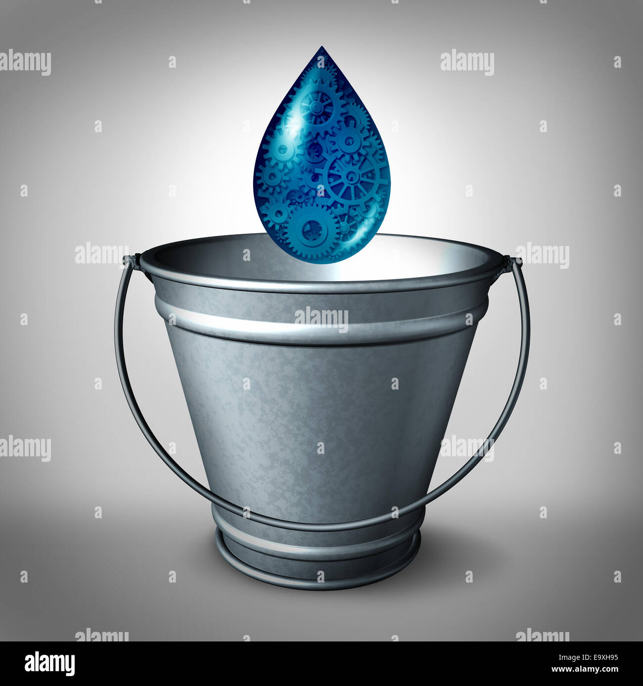 Drop in the bucket financial funding concept and social financing and donation of small amount of working capital - Stock Image