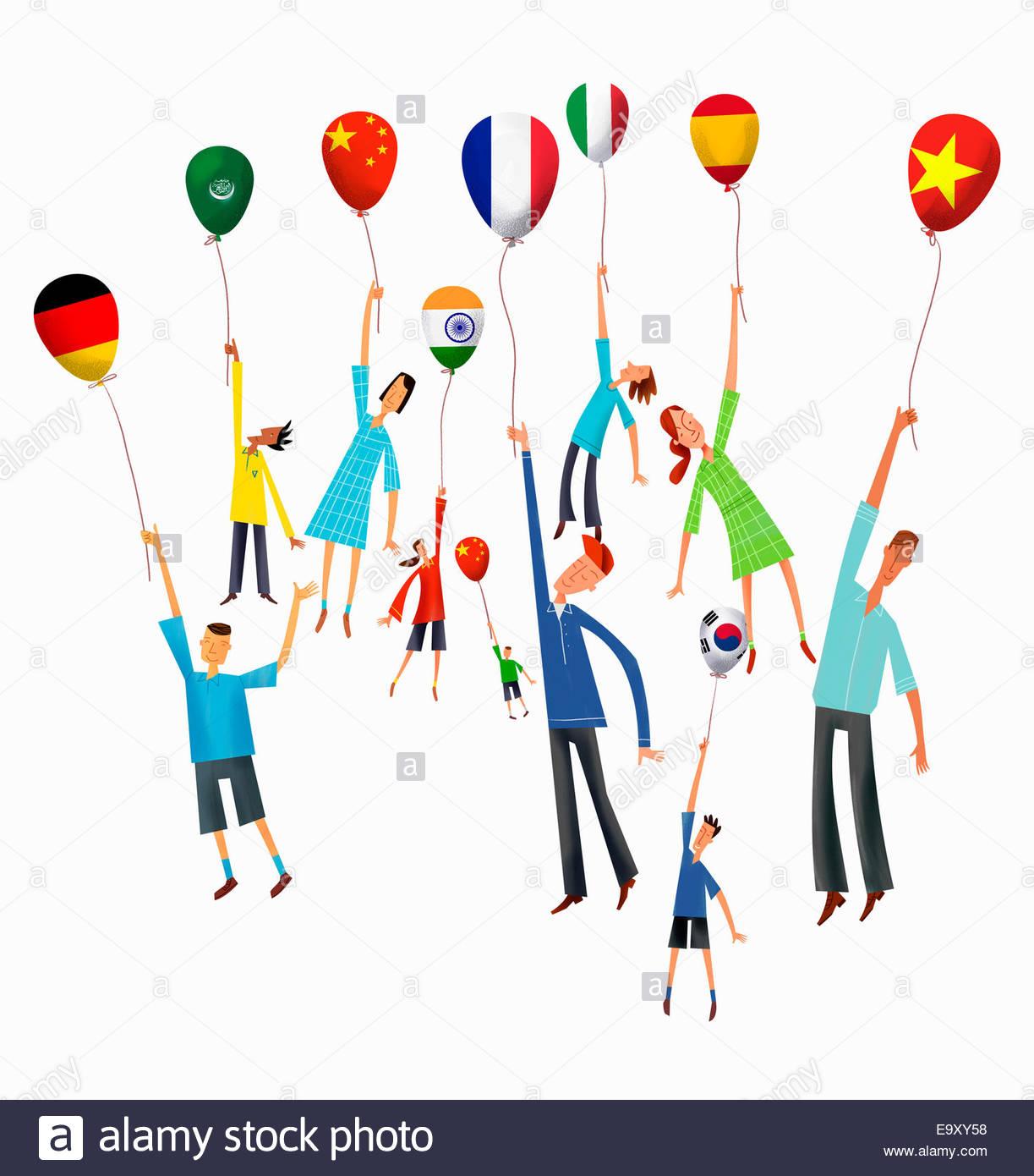 People rising holding international flag balloons - Stock Image