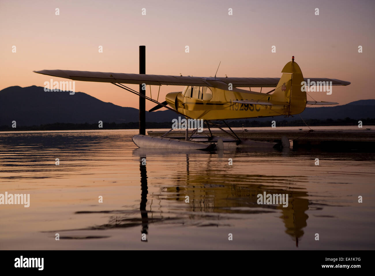 Piper Cub on Floats docked at the Seaplane Splash-In, Lakeport, California, Lake County, California - Stock Image