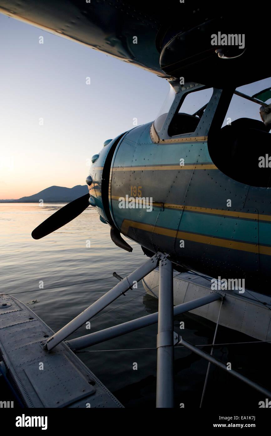 Cessna 195 on floats at the Seaplane Splash-In, Lakeport, California, Lake County, California - Stock Image
