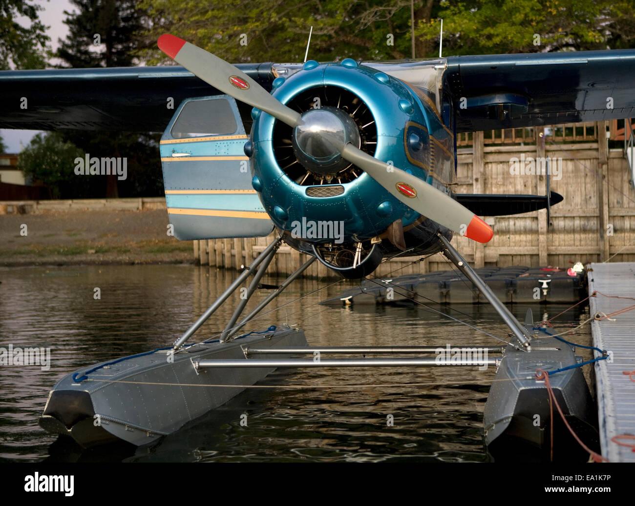 Cessna 195 on floats docked at the Skylark Motel dock, Seaplane Splash-In, Lakeport, California, Lake County, California - Stock Image