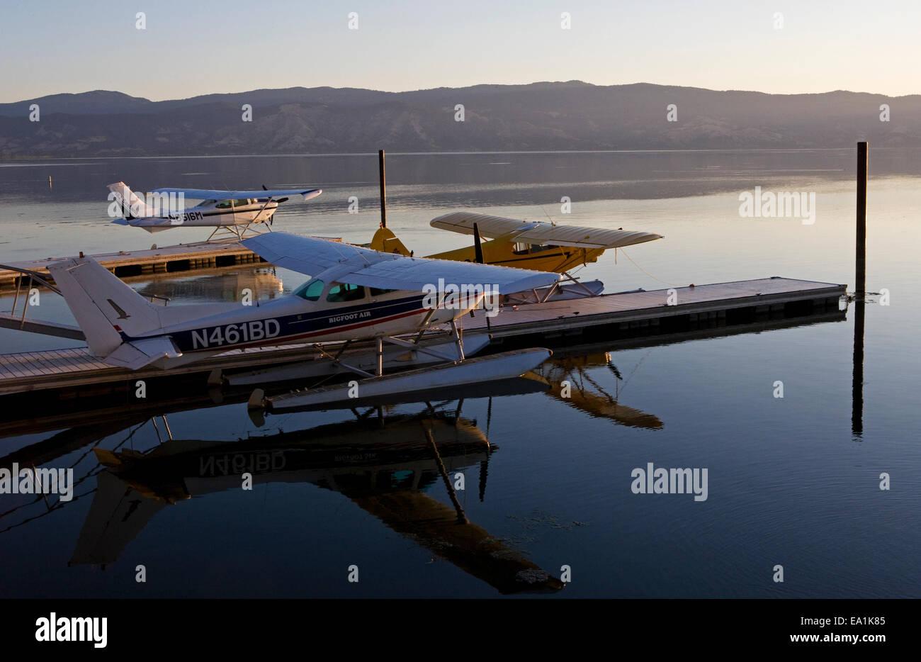 Seaplanes Docked at the Sky Lark Resort at the Splash-In, Lakeport, California, Lake County, California - Stock Image