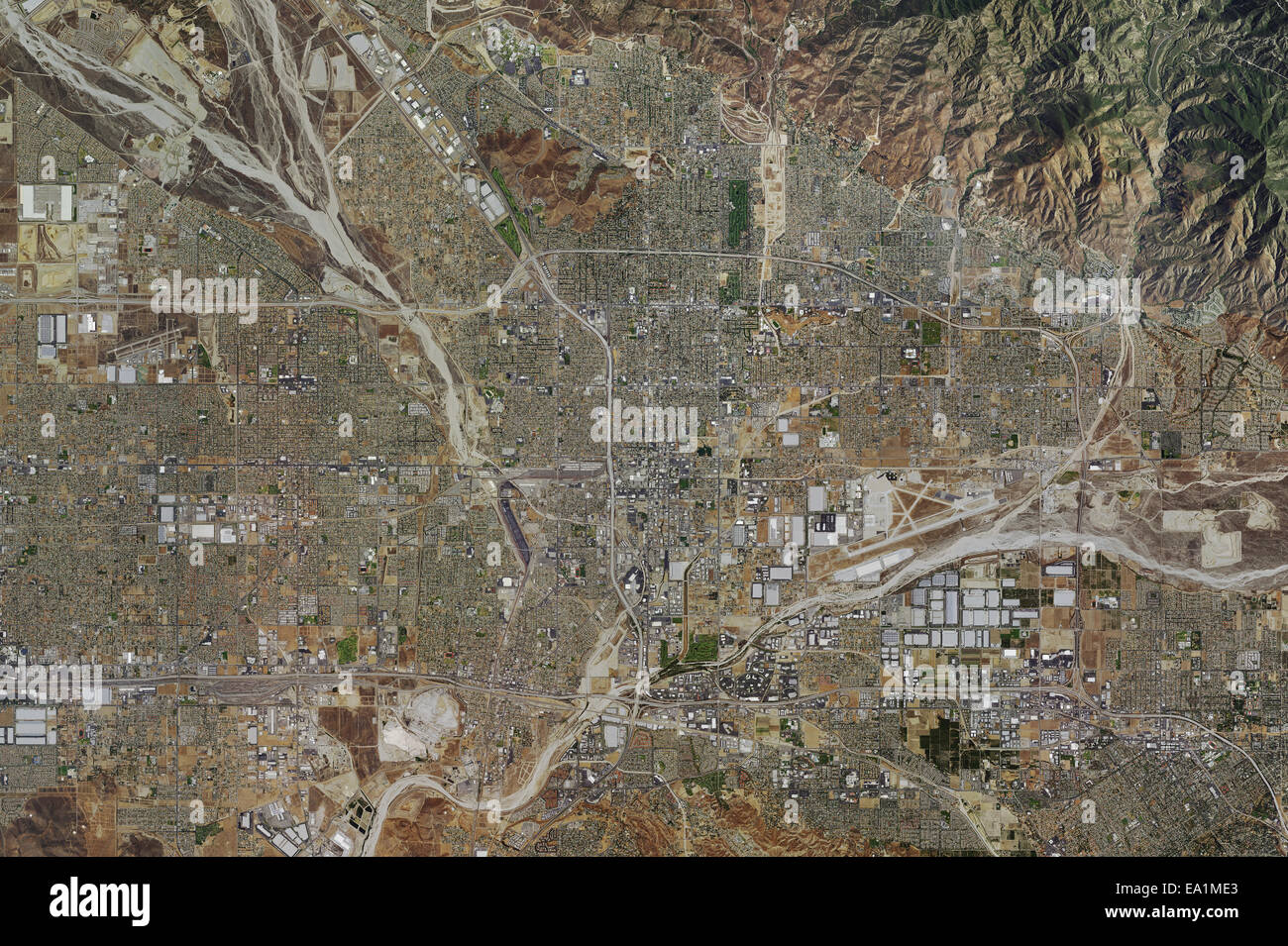aerial photo map of City of San Bernadino, San Bernadino County, California, 2014 - Stock Image