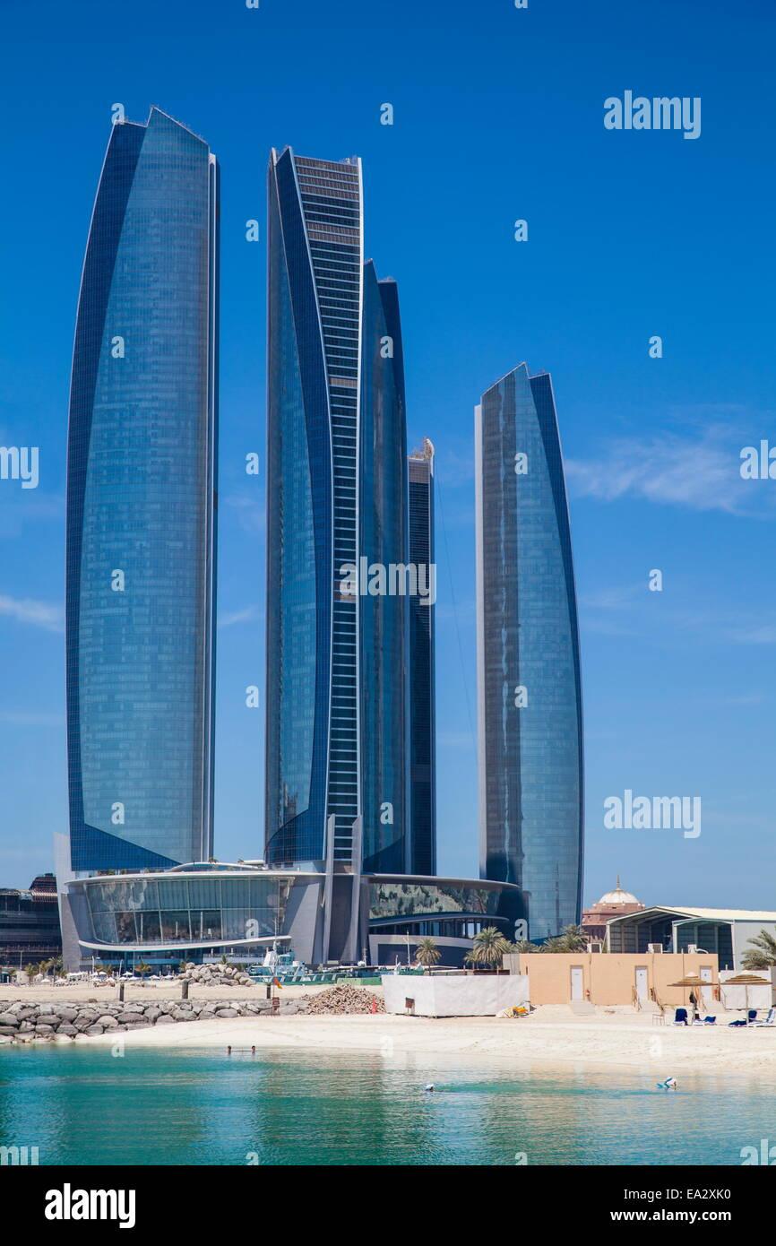Etihad Towers, Abu Dhabi, United Arab Emirates, Middle East - Stock Image
