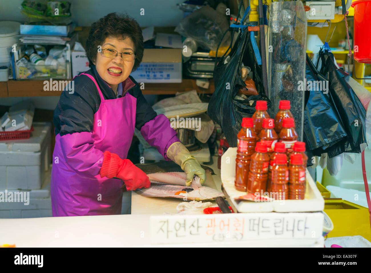 Incheon fish market, Seoul, South Korea, Asia - Stock Image