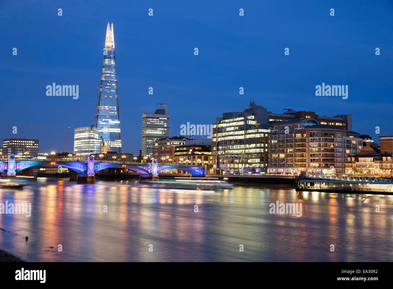 View over the River Thames with The Shard, London, England, United Kingdom, Europe - Stock Image