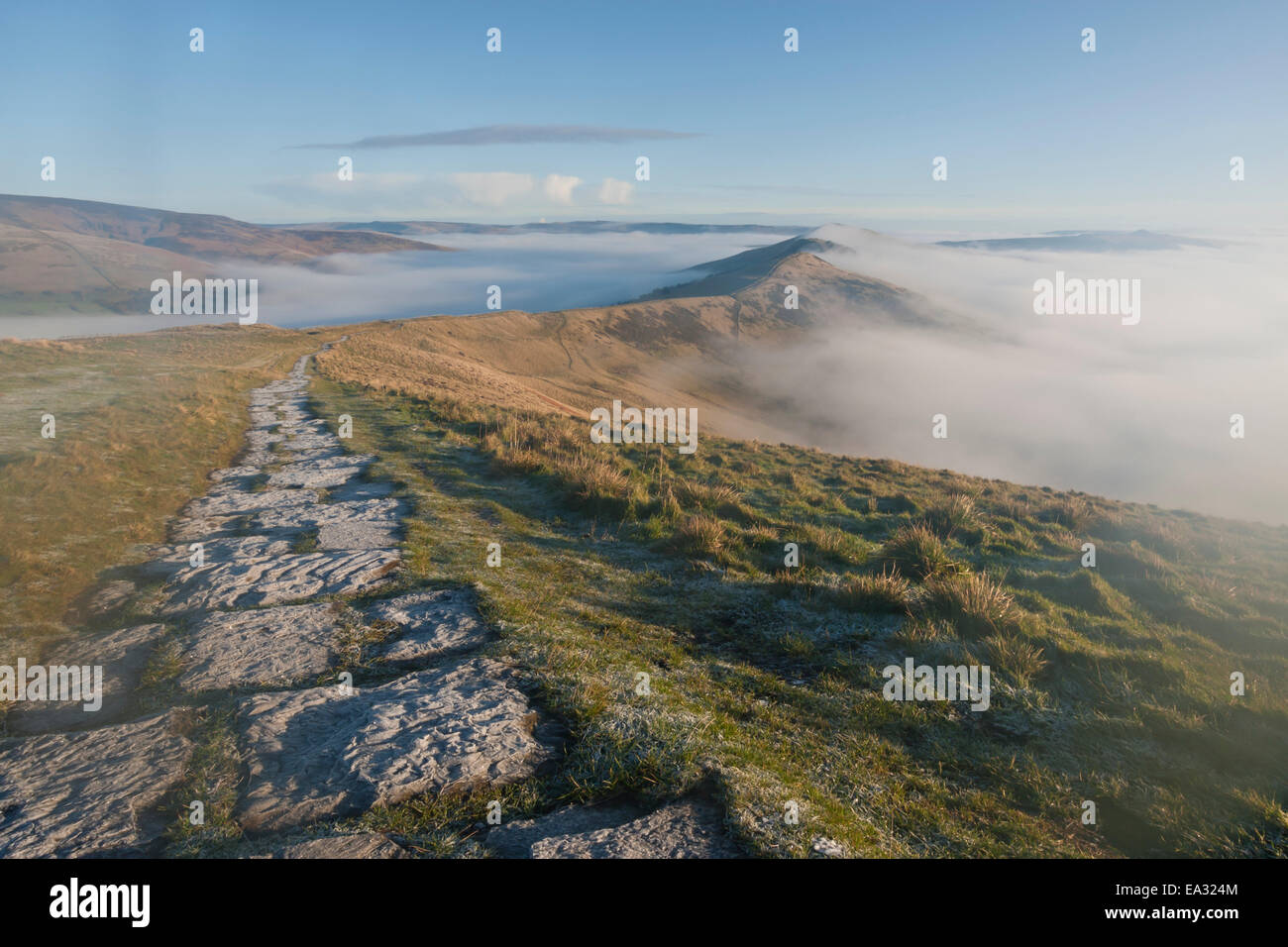 Frosty path, Edale and Hope Valleys, Great Ridge Hollins Cross Mam Tor, Castleton, Peak District, Derbyshire, England, - Stock Image