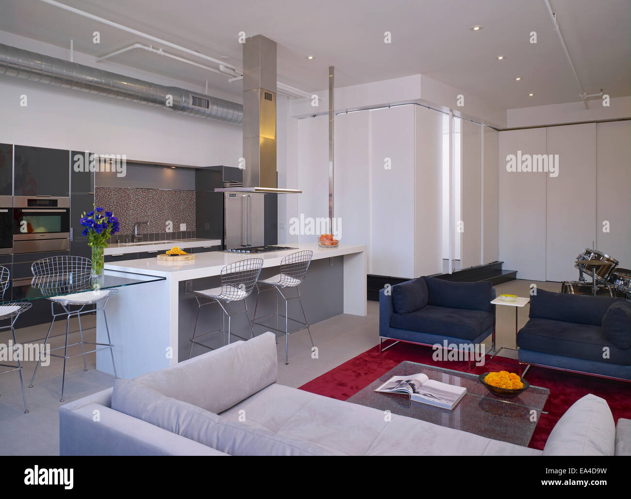 open plan studio apartment on broadway hollywood los angeles stock