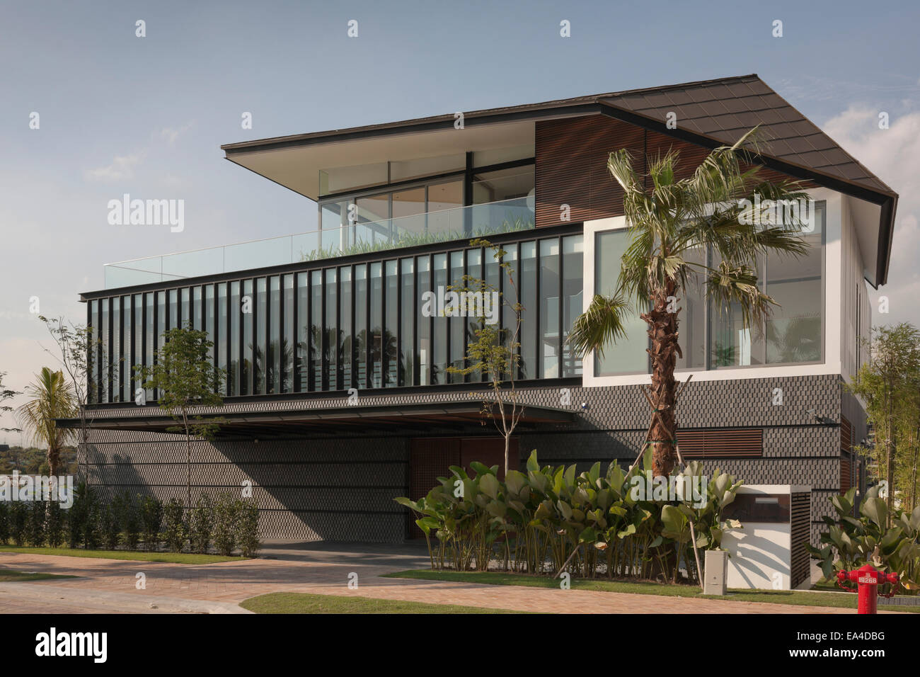 Modern Exterior With Vertical Glazing Panels Sentosa Singapore