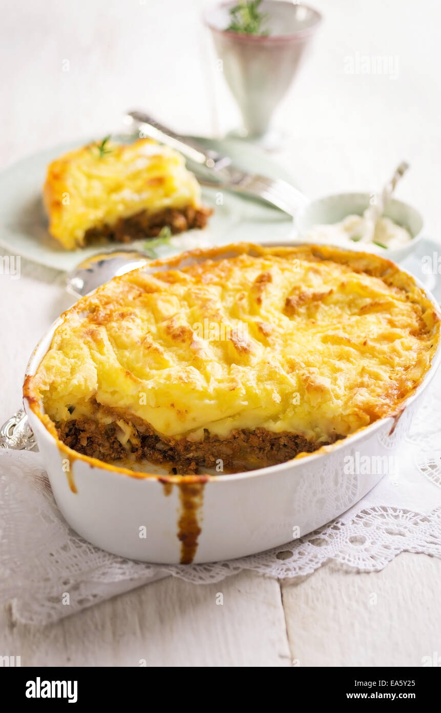 cottage pie with potato and minces meat Stock Photo